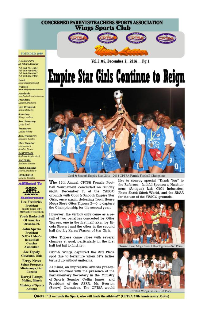 CPTSA Wings Sports Club NewsLetter Vol 6, #6, December 7,  2014      3 Pages-page-001
