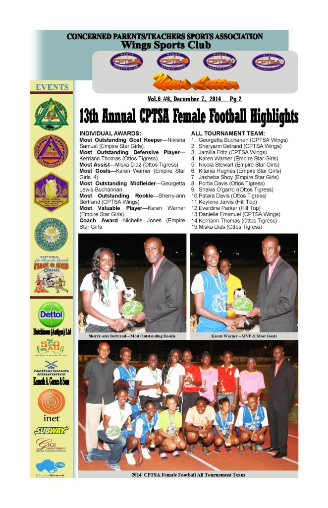 CPTSA Wings Sports Club NewsLetter Vol 6, #6, December 7,  2014      3 Pages-page-002