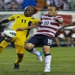 Antigua & Barbuda's Quinton Griffith and George Dublin fight for the ball with Landon Donovan of the U.S. during their 2014 World Cup qualifier soccer match in Tampa