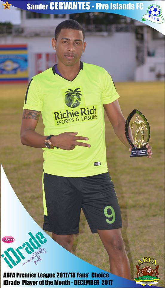 December's winner Sander Cervantes is a forward from Cuba playing for Five Islands  FC