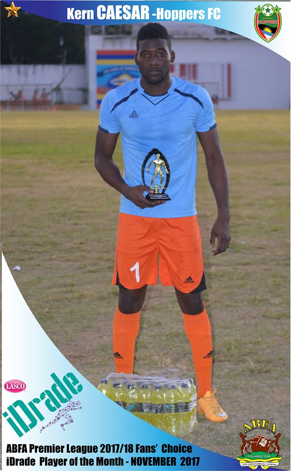 November's winner Kern Caesar is a goalkeeper from Trinidad playing for Greenbay Hoppers FC